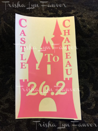 Castle to Chateau Marathon Distance Decal in Pink