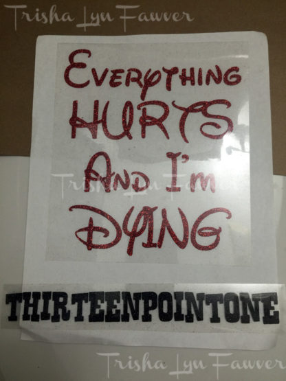 Everything Hurts Post-Marathon Iron-On Decal