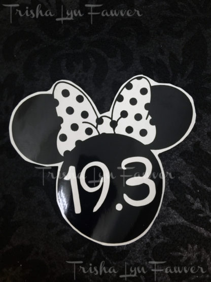 Minnie Marathon Distance Decal in Black 19.3