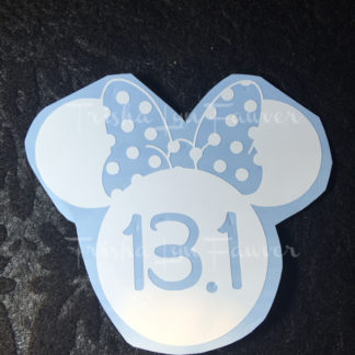Minnie Marathon Distance Decal in White 13.1