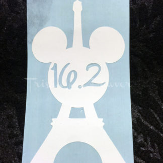 Eiffel Tower Mickey Marathon Distance Decal in White 16.2