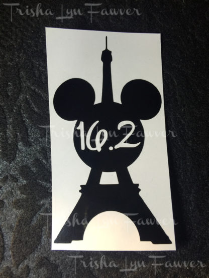 Eiffel Tower Mickey Marathon Distance Decal in Black 16.2