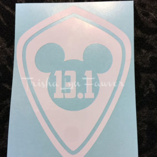 Super Mickey Marathon Distance Decal in White 13.1