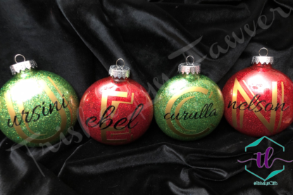 Custom Glitter Ornaments in Red & Green