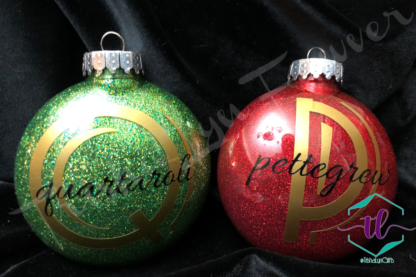 Custom Glitter Ornaments in Red & Green