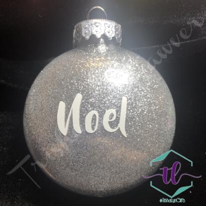 Custom Glitter Ornaments in Silver