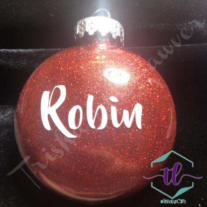 Custom Glitter Ornaments in Red