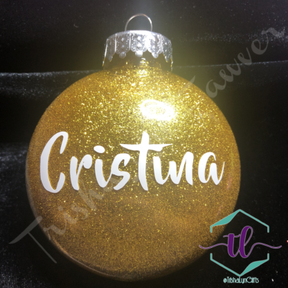 Custom Glitter Ornaments in Gold