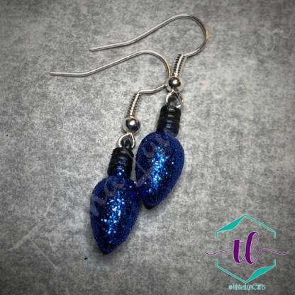Glitter Christmas Light Bulb French Hook Earrings in Blue