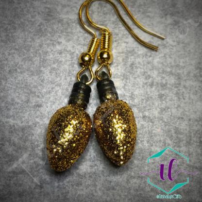 Glitter Christmas Light Bulb French Hook Earrings in Gold