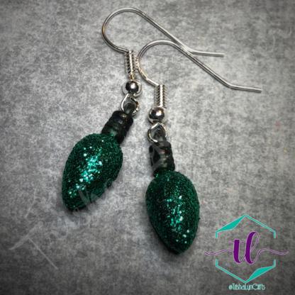 Glitter Christmas Light Bulb French Hook Earrings in Green