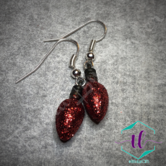 Glitter Christmas Light Bulb French Hook Earrings in Red