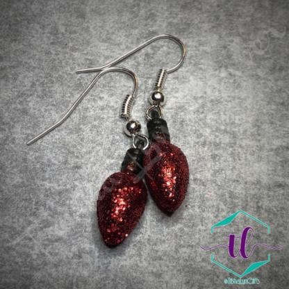 Glitter Christmas Light Bulb French Hook Earrings in Red
