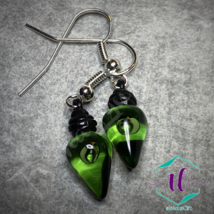 Translucent Christmas Light Bulb French Hook Earrings in Green
