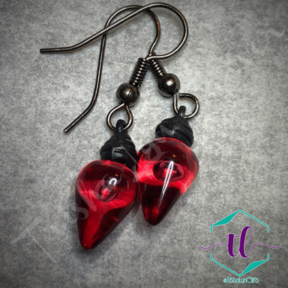 Translucent Christmas Light Bulb French Hook Earrings in Red