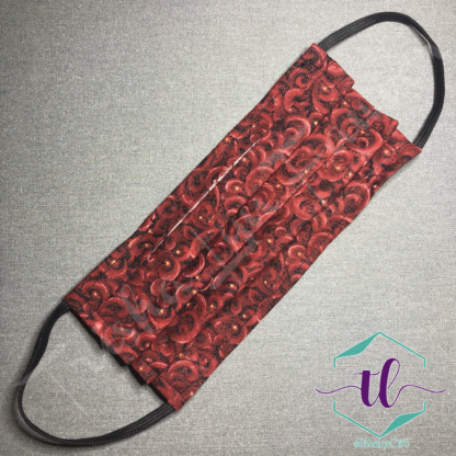 Cloth Surgical Style Mask - Red Swirls & Stars