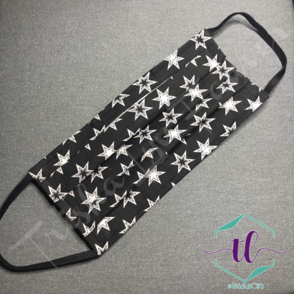Cloth Surgical Style Mask - White Stars on Black