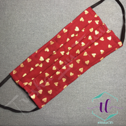 Cloth Surgical Style Mask - Gold Hearts on Red