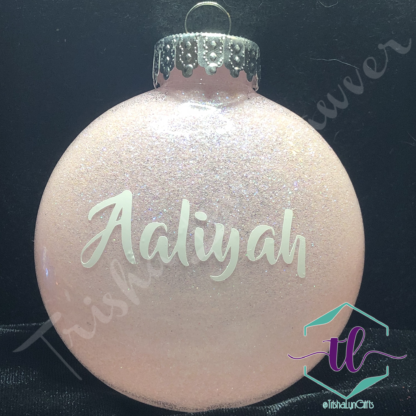 Custom Glitter Ornaments in Pink