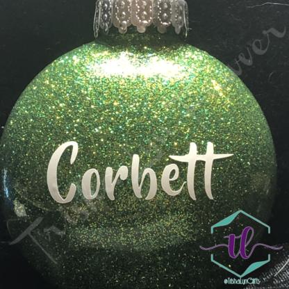 Custom Glitter Ornaments in Green