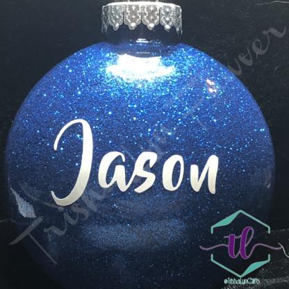 Custom Glitter Ornaments in Blue